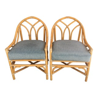 Late 20th Century Gothic Rattan Chairs- A Pair For Sale