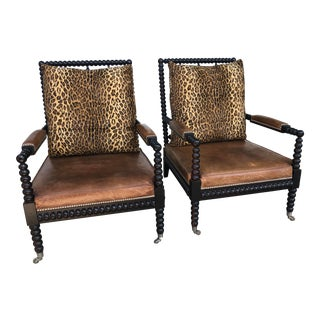 Ralph Lauren New Bohemian Spindle Chairs with Cheetah Print and Leather Upholstery - a Pair For Sale