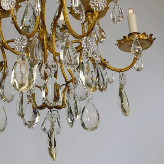 Gold Continental Iron & Crystal Chandelier For Sale - Image 8 of 11
