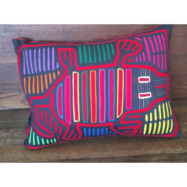 2010s Beth Ayer Design Multicolor Mola Cloth Pillow For Sale - Image 5 of 5