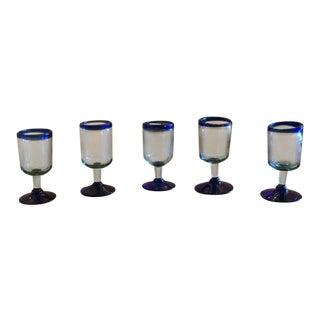 Mexican Cobalt Blue Stemmed Glasses - Set of 5 For Sale