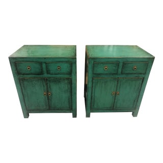 20th Century Asian Antique Teal Distressed Nightstands - a Par For Sale