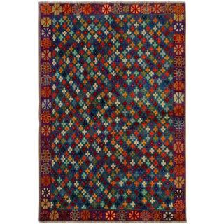 "Balouchi Evangeli Teal/Purple Wool Rug - 4'1"" X 5'9"" For Sale"