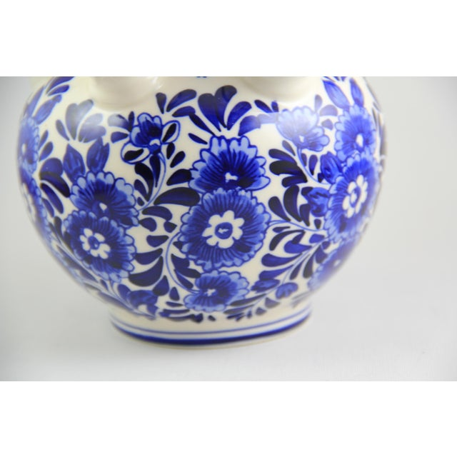 Delft Hand-Painted Blue White Porcelain Tulip Vase For Sale - Image 4 of 5