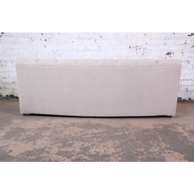 Tan Mid-Century Modern Curved Tufted Sofa, Newly Reupholstered For Sale - Image 8 of 12