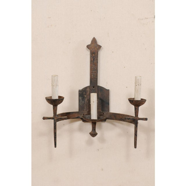 Iron French Three-Light Mid-Century Torch-Style Iron Sconces - a Pair For Sale - Image 7 of 12