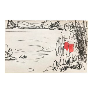 1980s Inga-Britta Mills Bathing Man Drawing For Sale