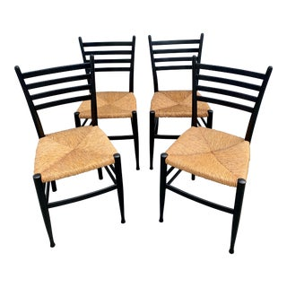 1950s Vintage Italian Rush Chairs- Set of 4 For Sale