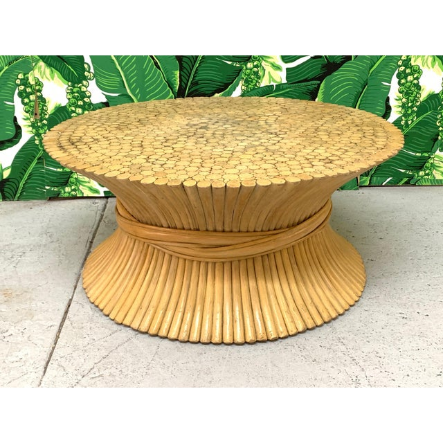 Brown McGuire Sheaf of Wheat Rattan Coffee Table For Sale - Image 8 of 8