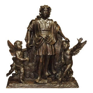 Large 18th Century Wooden Carving of an Angel With Cherubs For Sale
