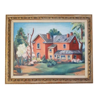 1959 W. E. Key Countryside Home Painting For Sale