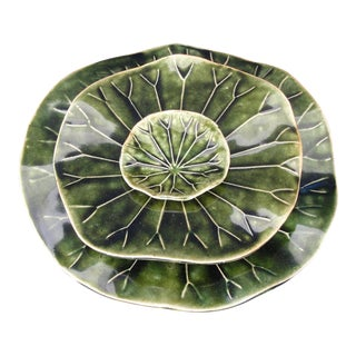 20th Century Asian Tropical Leaf Art Pottery Plate - Set of 3