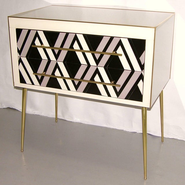 1990s Italian modern two-drawer end tables / nightstands, entirely handcrafted, the surrounds finished at the back as well...