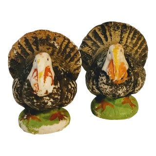 Vintage Bisque Table Turkey Figurines For Sale
