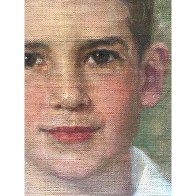 Oil Portrait Painting Young Man 1952 Signed For Sale - Image 4 of 8