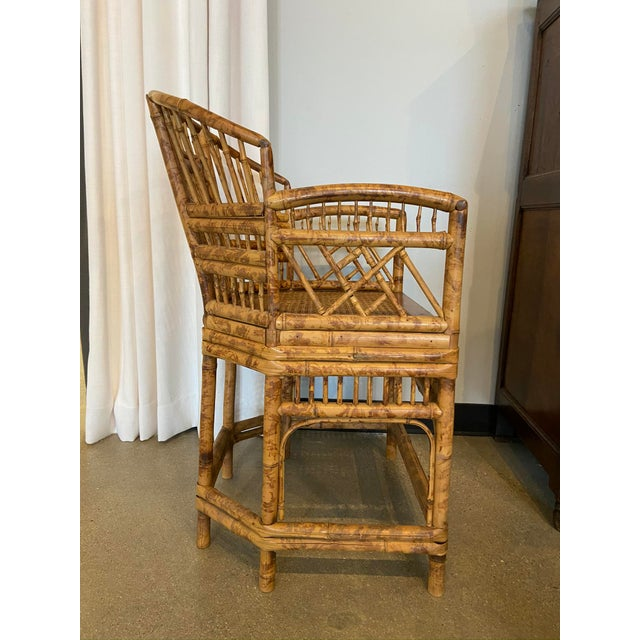 Brighton Pavilion Style Chinoiserie Burnished Bamboo Armchair For Sale - Image 4 of 7