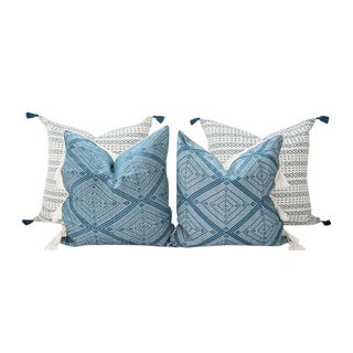 Teal Handwoven Mexican Pillows - Set of 4