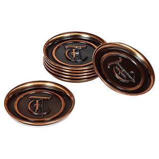 1960s Copper Monogrammed Coasters - Set of 7