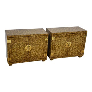 Faux Tortoise Shell Chest Credenzas - a Pair For Sale
