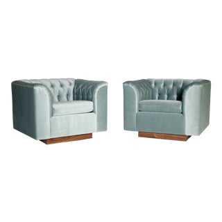 Ward Bennett Cube Club Chairs - a Pair For Sale