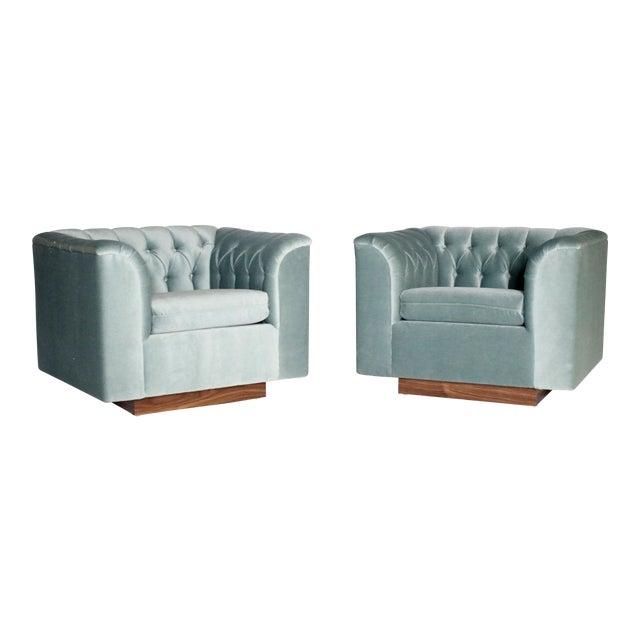 Ward Bennett Cube Club Chairs - a Pair For Sale