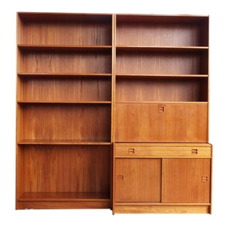 1960s Mid-Century Freestanding Teak Wall Unit Room Divider Bookcase For Sale