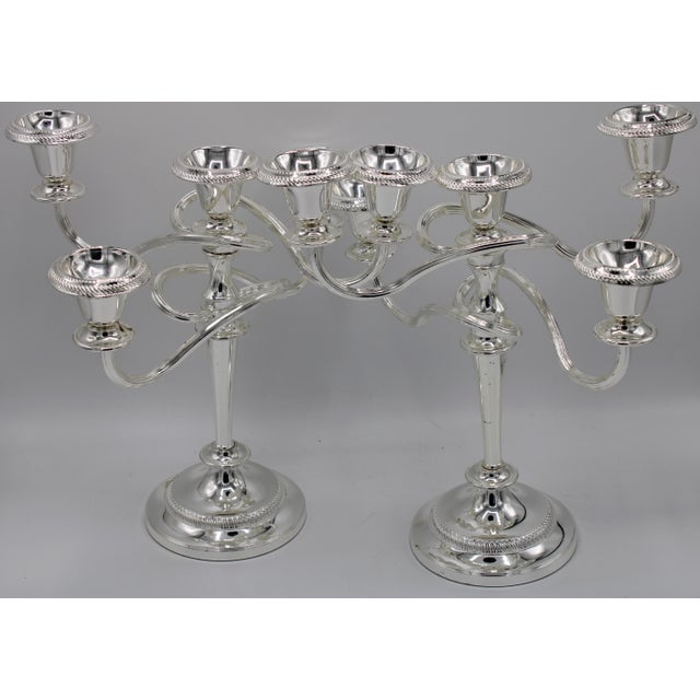 Metal Late 19th Century English Silver Plated Candelabras - a Pair For Sale - Image 7 of 10