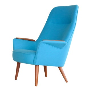 Frode Holm Attributed 1950s Lounge Chair With Teak Armrests Upholstered in Kvadrat Divino Wool