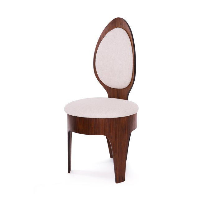 Henry Glass Henry Glass 'Spoon' Walnut Frame Dining Chairs - Set of 6 For Sale - Image 4 of 9