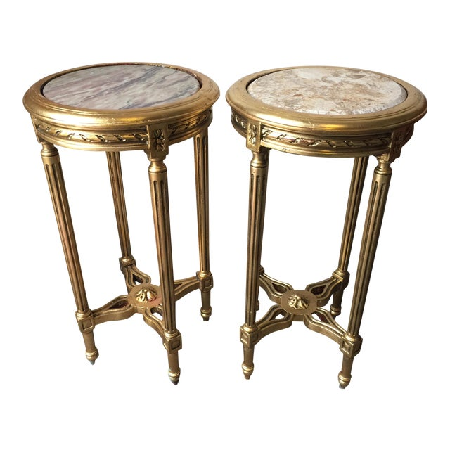 Neoclassical Style Gilt Side Tables - A Pair - Image 1 of 7