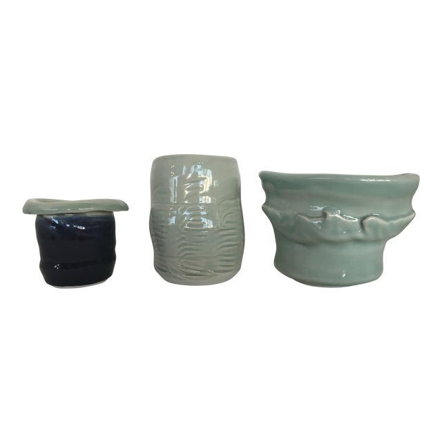 Three Studio Pottery Vases Signed For Sale