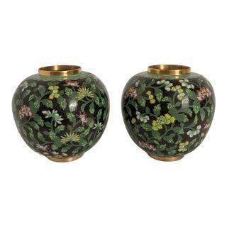 Black Cloisonne Ginger Jar Pair For Sale