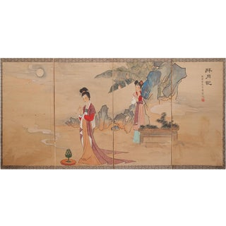 C. 1920s Guanyin and a Girl, Chinese Silk Screen Painting For Sale
