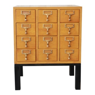 Vintage 12-Drawer Card Catalog End Table / Nightstand by Gaylord Bros For Sale