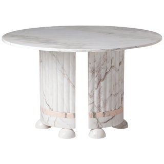 White and Pink Marble Dining Table by Dooq For Sale