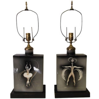 Pair of 1950s Sascha Brastoff Lamps With Dancers For Sale