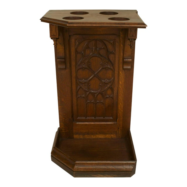 Turn of the Century English Gothic Carved Oak Umbrella Stand For Sale