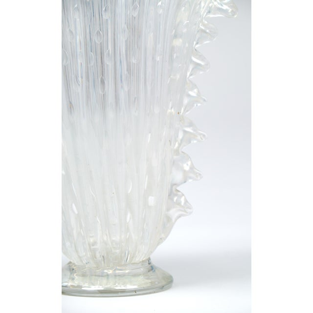 """Transparent Crystal Clear Murano """"Pulegoso"""" Glass Vase For Sale - Image 8 of 9"""