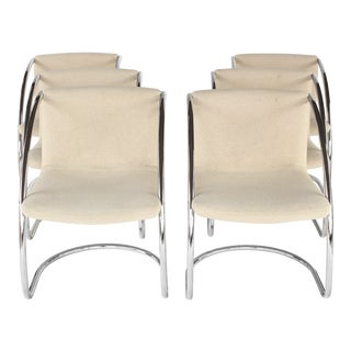1970s Vintage Mies Van Der Roh Style Chrome Cantilever Dining Chairs- Set of 6 For Sale