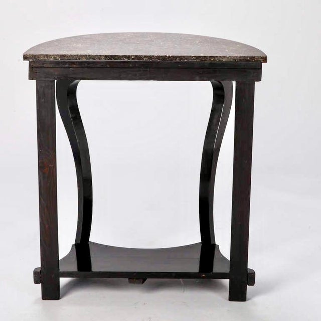 French Demi Lune Ebonised Console with Marble Top - Image 8 of 8
