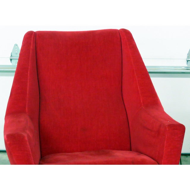Italian Mid 20th Century Red Italian Modern Lounge Chairs - a Pair For Sale - Image 3 of 9