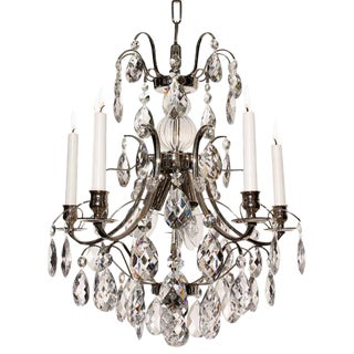 Baroque 5-Arm Almond Crystal Chandelier For Sale