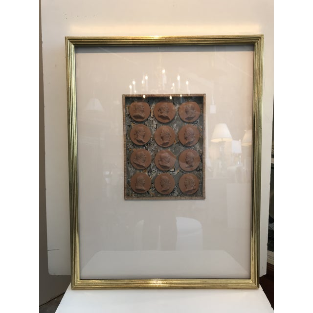 Clay 19th Century Italian Terracotta Intaglios in Custom 24-Karat Gilded Frame For Sale - Image 7 of 7