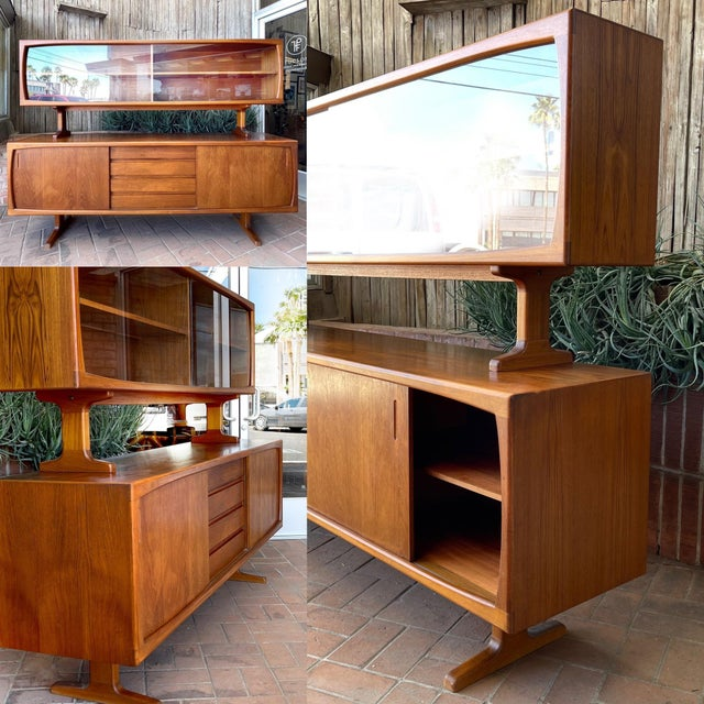 1970s Danish Modern Teak Credenza With Floating Top For Sale - Image 9 of 11