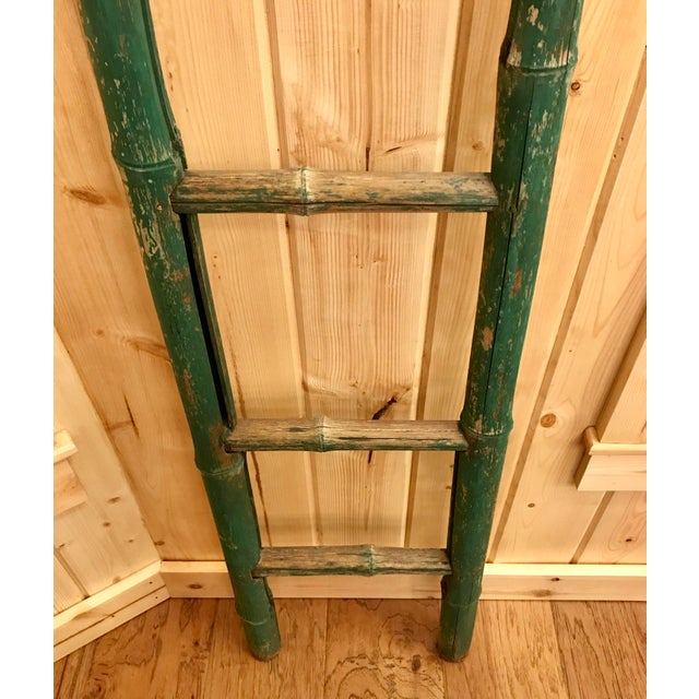 Early 20th Century Vintage Green Chipped Paint Bamboo Ladder For Sale - Image 5 of 9