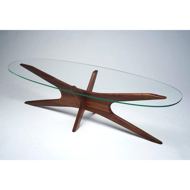 "1950s 1950 Vintage Adrian Pearsall Walnut ""Jacks"" Coffee Table Base For Sale - Image 5 of 5"