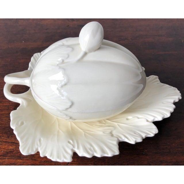 Vintage Wedgwood Creamware Melon Form Tureen-Leaf Underplate For Sale - Image 9 of 10