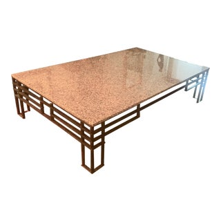 Custom Made Marble Top and Wrought Iron Base Coffe Table