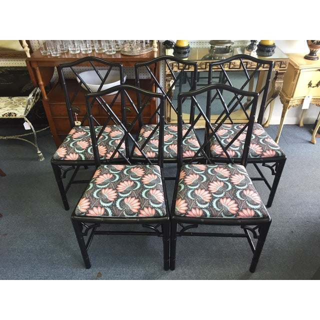 1970s Asian Modern Chippendale Reupholstered Black Wood Dining Chairs - Set of 5 For Sale - Image 9 of 9