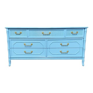 Vintage Broyhill 7 Drawer Dresser Professionally Lacquered in Light Blue For Sale